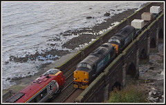 Pen-y-Clip Parade ! (peterdouglas1) Tags: llanfairfechan penyclip viaducts virgintrains valleyflasks class37 directrailservices englishelectric vulcanfoundry