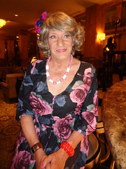 I Am Doing Nothing Really Special . . . (Laurette Victoria) Tags: woman laurette dress floralprint necklace hotel lobby milwaukee pfisterhotel