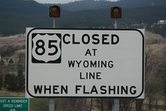No, Wyoming does not close; the road closes to Wyoming (Hazboy) Tags: hazboy hazboy1 deadwood south dakota april 2019 west western us usa america road sign highway 85 wyoming