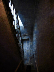 Who Lives on the Second Floor? (Steve Taylor (Photography)) Tags: digitalart brown blue stairs staircase railing door uk gb england greatbritain unitedkingdom london perspective texture