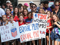 USWNT Victory Parade 2019 (tai_lee2) Tags: soccer parade heroes victory celebration banner flag sign people person trophy fans cheer street barrier police building equal pay manhattan world champion