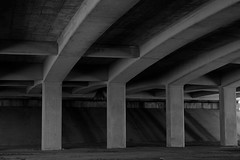 Bridge Supports (Gene Ellison) Tags: freeway road bridge supports street summer blackwhitephotos bw fujifilm
