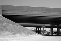 White Hot Day Overpass (Gene Ellison) Tags: freeway road bridge supports street summer blackwhitephotos bw fujifilm