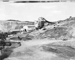 Mt Morgan Mine Limited in Mt Morgan (Queensland State Archives) Tags: queensland qld australia blackandwhite bnw vintage history archives historical 1940s old photography photograph photo image town city people construction work workers train country sky clouds