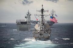 190711-N-WI365-1040 (U.S. Pacific Fleet) Tags: photoex talismansabre ts19 australia hmascanberra ussmccampbell usskeywest ussronaldreagan ussashland lsd48 cvn76 ddg85 ssn722 formation battleensign tasmansea