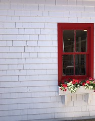 red window (Hayashina) Tags: red white canada window wall wooden princeedwardisland charlottetown flowers