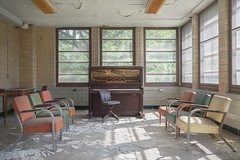 ...recital... (Art in Entropy) Tags: abandoned hospital decay urbex urban explore exploration adventure photography art entropy light piano music chair mental asylum derelict lost sony sonyalpha