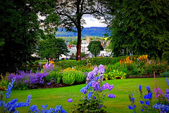 Dumbarton (Rollingstone1) Tags: dumbarton summer view town hills trees garden park levengrove scotland vivid colour art artwork flowers grass idyllic scenery landscape