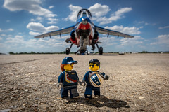 Ready for the air show (Ballou34) Tags: 2019 7dmark2 7dmarkii 7d2 7dii afol ballou34 canon canon7dmarkii canon7dii eos eos7dmarkii eos7d2 eos7dii flickr lego legographer legography minifigures photography stuckinplastic toy toyphotography toys stuck in plastic aircraft airplane patrouille de france pilot sky cloud