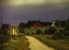In The Quiet (jackalope22) Tags: barn tranquil sky sun perspective telephone poles