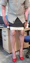 Skirt fitting, just the right length when pulled down and adjusted, should ride up nicely when bent over the filing cabinet or the bosses desk (ursulaballing) Tags: cd tv transvestite tranny sissy crossdresser shortskirt nylons stockings stockingtops highheels heels secretary