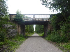 Former railway bridge near Sheffield Rd, Creswell    (Former Staveley - Creswell line)   July 2019 (dave_attrill) Tags: bridge sheffieldroad creswell disused railway line trackbed passenger goods abandoned clowne poolsbrook staveleytocreswell midland chesterfield derbyshire path cyclepath bridleway resurfaced july 2019