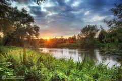 Boyne sunset (mythicalireland) Tags: sunset setting sun boyne river valley newgrange lougher water clouds sky trees grass landscape nikon d3