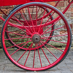 Red wheels (2 of 3) (+Pattycake+) Tags: whitwellreepham tyre whitwellandreepham circular trains spokes red luggagecart summer 1855mm rubber museum wagon metal 9jul19 railway ©patriciawilden2019 station norfolk canoneos70d old outside coth5