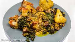 Happy Friday tea. Roast pork belly with kale sprouts and cauliflower. (garydlum) Tags: butter cauliflower cream currypowder horseradishcream kalesprouts pork porkbelly canberra australiancapitalterritory australia
