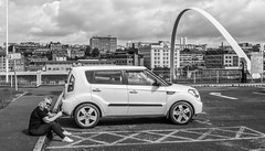 Kia Soul and the bridge and the girl. . . (CWhatPhotos) Tags: cwhatphotos millennium bridge bw mono kia soul vehicle white woman girl driver photographs photograph pics pictures pic picture image images foto fotos photography artistic that have which with contain milf esystem four thirds digital camera olympus penf 1240mm f28 pro zoom lens 43 fit mft micro milfs flickr sky clouds newcastle upon tyne gateshead crossing