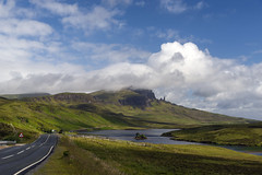 Road to The Storr (syf22) Tags: viewpoint isleofskye mountains hill spectacular view distance trotternish peninsula rocky massive pinnacle iconic road hillside blue oldmanofstorr picturesque panoramic
