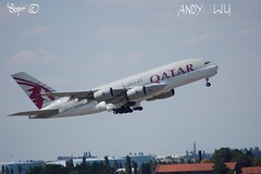 Airbus A380 Qatar Airways (Starkillerspotter) Tags: qatar airways takeoff paris cdg airport a380 airbus 09r airplane afternoon july houses trees