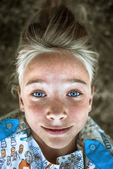 Upside Down (GrandJr) Tags: eyes outdoor portrait people d3 fx funny face grandjr girl hungary hair happy joy kid light color child beauty bokeh blonde blue nikon ngc 35mm f2