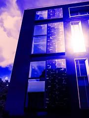 The Bright Reflection (Steve Taylor (Photography)) Tags: digitalart architecture blue mauve white glass uk gb england greatbritain unitedkingdom london glow glare reflection cloud sunshine sunny