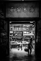 Peddler (Hiro_A) Tags: thailand bangkok chinatown peddler monochrome blackwhite bw watmangkonkamalawat sony rx100m3
