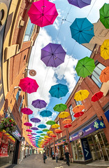 Umbrella Display , Durham City . . . (CWhatPhotos) Tags: cwhatphotos summer 2019 day photographs photograph pics pictures pic picture image images foto fotos photography artistic that have which contain olympus penfdisplay art colors colours above street umbrella sky durham coty north east england uk samyang fisheye fish eye wide angle view 75mm prime lens