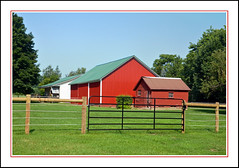 On the Farm at Meadows Inn in Middlebury, Indiana (sjb4photos) Tags: indiana middleburyindiana meadowsinn redbarn fence fencefriday hff