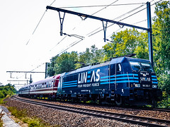 LINΞΛS 186 293 met Balaton Sound Express (13486) @ Bilzen (Avinash Chotkan) Tags: lineas balatonsoundexpress euroexpress br186 bombardier traxx trains belgium railpool balatonsound 186293 yourfreightforce