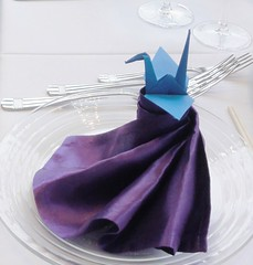 Origami Paper Crane on Folded Napkin (Joseph Hollick) Tags: smileonsaturday papercrane origami picofpaper napkin aghgala artgalleryofhamilton folded foldedpaper agh fancy purple blue design paper