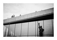 FILM - Liberty reflected (fishyfish_arcade) Tags: 35mm analogphotography canonsureshotz135 filmphotography filmisnotdead istillshootfilm kodak newyork portra400 analogcamera compact film statueofliberty blackwhite blackandwhite bw monochrome mono