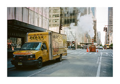 FILM - Manhattan scene (fishyfish_arcade) Tags: 35mm analogphotography canonsureshotz135 filmphotography filmisnotdead istillshootfilm kodak newyork portra400 analogcamera compact film truck grafitti steam