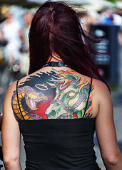 A view that you can't see from the front. (D80_538844) (Itzick) Tags: denmark copenhagen candid color colorportrait tattoo youngwoman back redhead redhair streetphotography d800 itzick