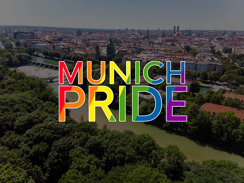 """View over the German city Munich with the rainbow-coloured title """"""""Munich Pride"""", to celebrate LGBTQ-rights in Germany"""