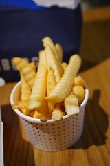 Crinkle cut chips AUD3.50 small - Huxtaburger, Flinders Lane, Melbourne (avlxyz) Tags: burger hamburger beef chips crinklecut