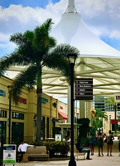 Urban Perspective (LarryJay99 ) Tags: blue sky urban signs publicspace perspective cloudysky people lines florida westpalmbeach outlettents