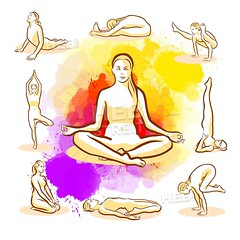 Set of Yoga Poses (Hebstreits) Tags: action activity aerobics background balance beautiful beauty body collection design energy exercise female figure fitness girl gym health healthy human icon illustration isolated lady leg lifestyle meditation people person physical pose poses position practice recreation relaxation set shape silhouette slim sport stretch stretching vector wellness white woman women workout yoga