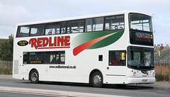Redline Travel, Penwortham, Preston YIL 6139 on layover in Squires Gate Lane, Blackpool. (Gobbiner) Tags: redlinetravel yil6139 preston b7tl lj03mxw alexander alx400 volvo penwortham arrivalondon vla6 blackpool