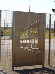 Metal Art Work of a Standard Class Tram on the boundary fence of Starr Gate Tram Depot in Blackpool (j.a.sanderson) Tags: metal art work tram boundary fence starrgatetramdepot blackpool standardclasstram trams photo