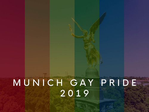 A landmark of Munich, behind rainbow colors and the title Munich Gay Pride 2019