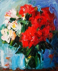Happy Summer Bouquet of Red and White Roses on Blue (http://annafineart.net/) Tags: oilpainting expressionism contemporary modernart gallery original floral flowers artwork still life flower artstudio media bouquet pink oilmedia impressionist art arts painter dailypainter artist oil painting paintings fineart finearts textura impasto white expressionist artforsale professional thick paint paints annafineart annafineartstudio bunch rose abstract abstractpainting abstracto blue roses impressionism pintura colores
