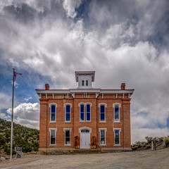 Storm Clouds Over Historic Courthouse (Jeff Sullivan (www.JeffSullivanPhotography.com)) Tags: historic mining ghost town abandoned nevada usa rural decay photography nikon d850 photos copyright jeff sullivan may 2019 photomatixpro hdr nikonnofilter