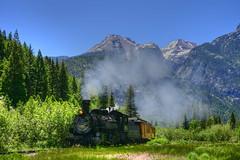 The Dro train and Grenadier mts (maryannenelson) Tags: colorado molas coloradotrail grenadier mountians landscape bluesky train coalburning narrowguage summer
