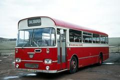 Golden Eagle Coaches ( J . Irvine ) . Salsburgh , Scotland . LHS479P . Salsburgh Garage  , Scotland . Friday 24th-March-1978 . (AndrewHA's) Tags: salsburgh scotland bus irvine aec reliance willowbrook lhs479p golden eagle coaches