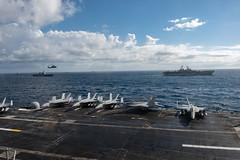 "USS Ronald Reagan sails alongside other U.S. ally, and partner ships during Talisman Sabre 2019 (#PACOM) Tags: ussronaldreagan uss cvn76 forwarddeployedaircraftcarrier carrierstrikegroup5 maritime usnavy masscommunicationspecialist3rdclassgabrielmartinez exercisetalismansabre2019 usindopacificcommand ""usindopacom"
