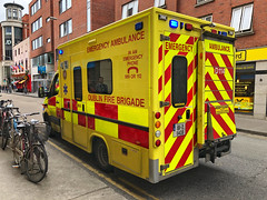 Mercedes Sprinter/Wilker. Dublin Fire Brigade (barronr) Tags: yellow help dublinfirebrigade bluestwos oncall 911 112 999 emergencymedicalservice ems eire ireland dublin ambulance
