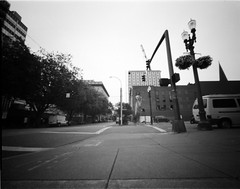 Portland Street Scene (Pinhole) (Leland Buck Photography) Tags: portland pinhole pinholephotography pinholecamera ondu4x5 largeformat ilforddelta100 ilfordfilm ilfordphoto kodakxtol film filmphotography filmisnotdead