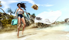 Take everything (♛ Baronne ♛) Tags: secondlife summer lotd look style mode model pose mannequin fashion été beach plage tableauvivant wind zephyr hair reign gacha beachbag legs sand blow sea mer ocean south holidays sl avatar 3d mademoiselle pic picture french fr strawhat hat tube floorplan fakeicon veil sexy girly jolie femme elysion nativesoul photograph photographer