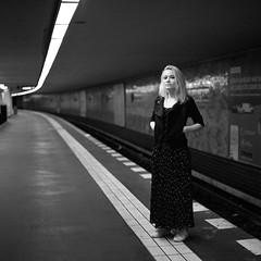 Stefaniya (csobie) Tags: bronicasqa 80mmf28ps yellowfilter k2 ilford hp5 mediumformat blackandwhite 120 6x6 film analog ubahn subway berlin germany europe portrait woman epson v600
