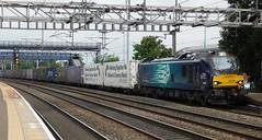 "88008 ""Ariadne"" - Rugeley Trent Valley, Staffordshire (The Walsall Spotter) Tags: drs directrailservices class88 electric locomotive 88008 westcoast mainline rugeley trentvalley railway station overheadlineequipment overheadwires networkrail britishrailways"