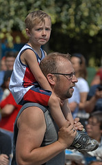 On The Shoulders Of Giants (Scott 97006) Tags: kid boy parade man dad father ride cute